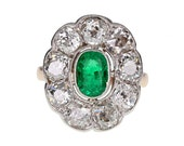 Antique Oval Emerald and Diamond Cluster Ring in 18ct Gold