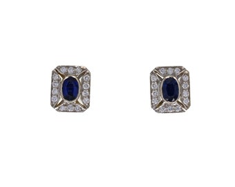 18ct Yellow Gold Sapphire Diamond Earrings