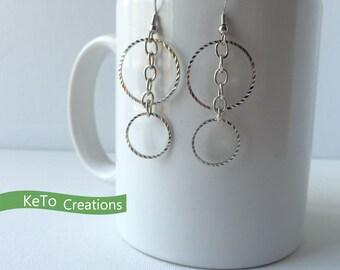 Earrings, Silver Hoop Earrings, Hoop And Chain Earrings, Silver Dangle Earrings