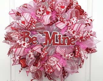 """Valentines Day Wreath, """"Be Mine"""", Red, White, and Pink Deco Mesh, Red Hearts, Valentines Day Decor, Valentines Wreath, Front Door Wreath"""