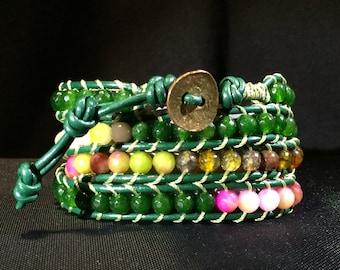 Green Leather 4-Wrap Power Stone Beaded Wrap Bracelet