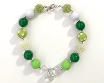 St. Patrick's Day Girls Green White Chunky Bubblegum Bead Necklace St. Patrick's Accessories