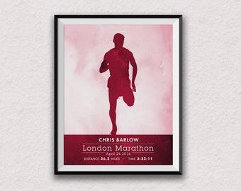 marathon print, personalised art, personalised marathon print, runner print, runner art, marathon wall art, male runner, male marathon