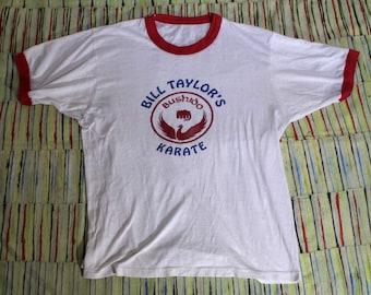 Super Soft Vintage Karate Ringer T Shirt, Medium