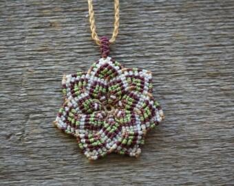 Mandala macrame necklace