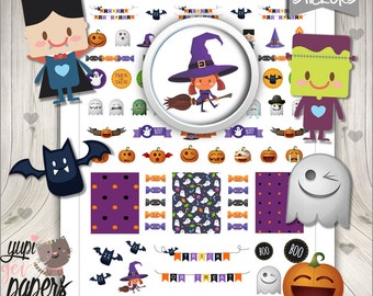 50%OFF - Halloween Stickers, Planner Stickers, Witch Stickers, Pumpkin Stickers, Ghost Stickers, Planner Accessories, Use in Erin Condren
