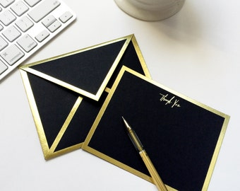 Thank You Black Card with Gold Foil Bordered Envelope