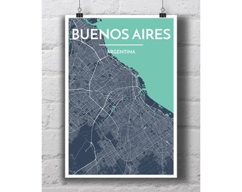 Buenos Aires Map Etsy - Argentina map to print