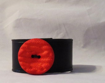 """Black Leather Bracelet Leather Cuff Leather Wristband With Red """"Knitted"""" Button"""