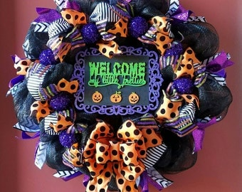 Halloween wreath, Halloween  decor, deco mesh wreath, Halloween decorations, fall wreath, Happy Halloween