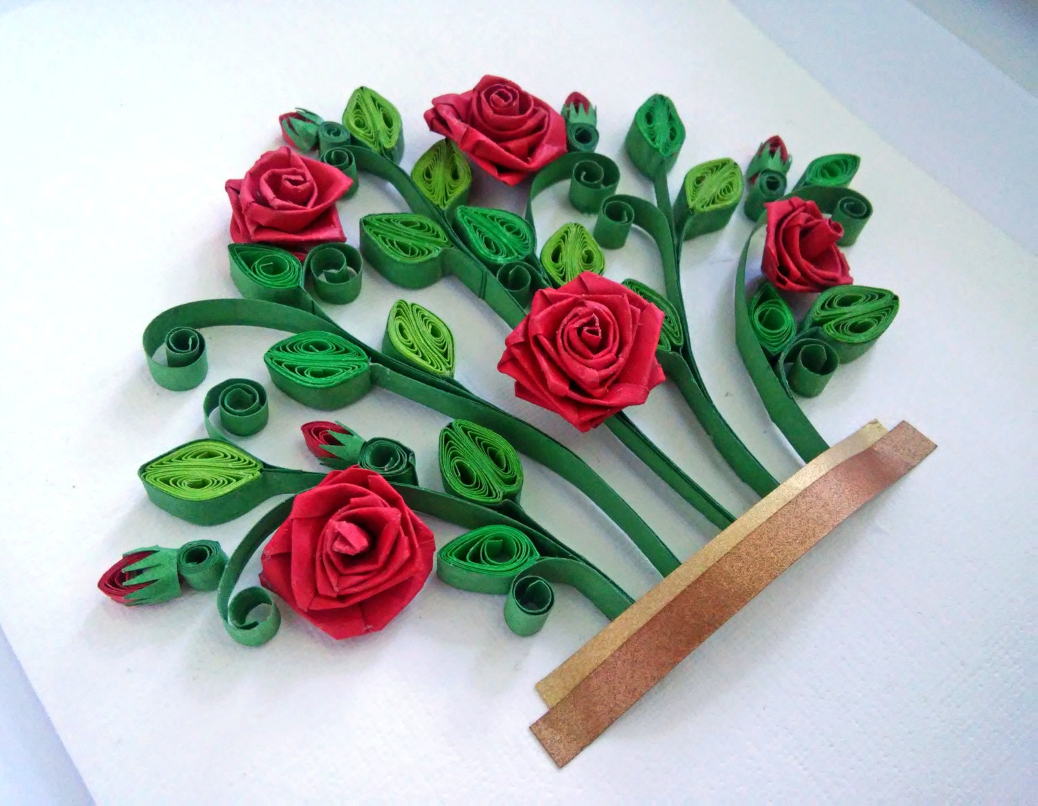 Red roses bush quilling paper art quilling shadow box wall for Quilling paper art