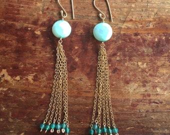 Long Mint Green Tassle Statement Earrings Pearls Green Onyx Stones Boho Earrings Gift for Her