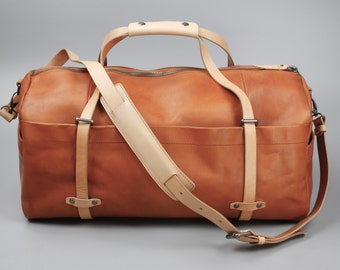 Vegetable Tanned Leather Duffel Bag