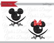 INSTANT DOWNLOAD Pirate Minnie and Mickey Disney Inspired Layered Cutting File in Svg, Eps, Dxf, and Jpeg Format for Cricut and Silhouette