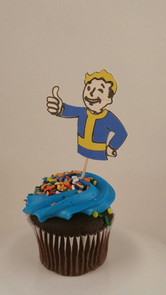 Vault boy cupcake topper fallout 4 decorations by for Fallout 4 decorations