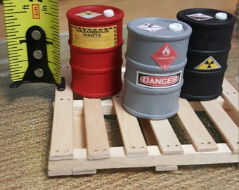 Drums Miniature Diorama Accessory (3 drums & Pallet) Handcrafted