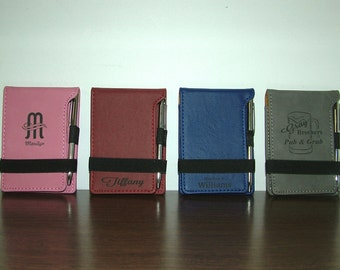 Personalized Leatherette Notepad With Pen - Custom Logo