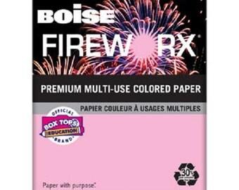 Boise Fireworx Paper, Letter, Powder Pink, 20lb, 500ct x 2 Reams