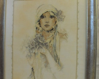 "Cross stitch picture ""Lady with lilac flower"""