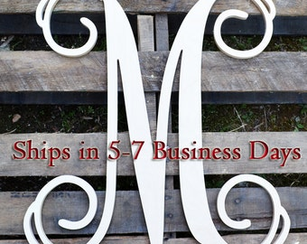 Wooden Letters - Unpainted Vine Script Wooden Letters - Door Hanger - Nursery Decor - Wedding Decor