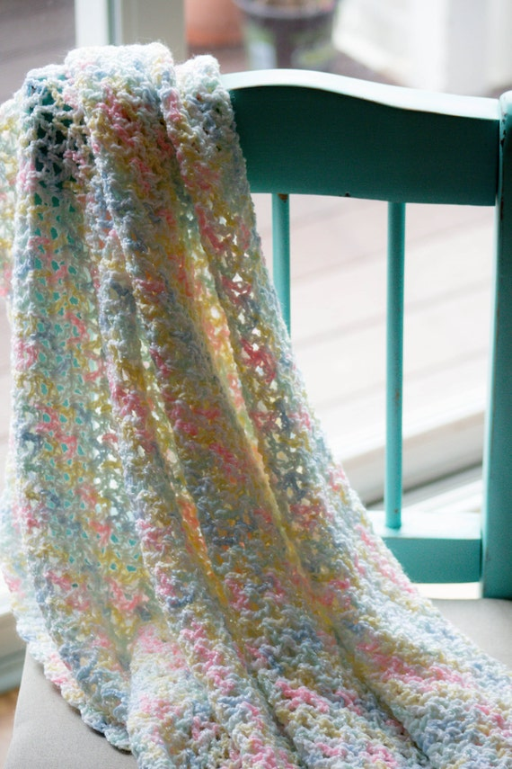 Crochet Baby Blanket Patterns Variegated Yarn : Crocheted baby blanket in a soft pastel variegated yarn.
