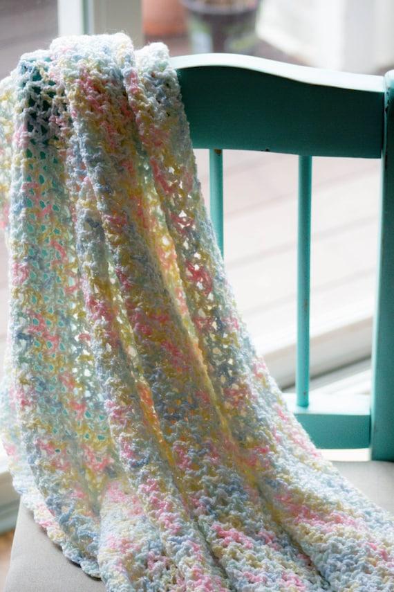 Crochet Baby Blanket Patterns Variegated Yarn : Crocheted baby blanket in a soft pastel variegated yarn.