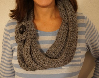 Dark Grey Triple Loop Infinity Scarf