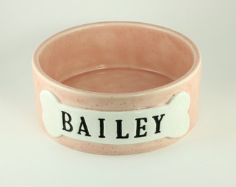 Personalized Dog Bowl Pink Speckled Stoneware