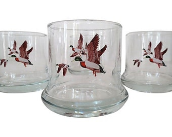 Flying Mallard Glassware, S/4, English Mallard Drinking Glassware, Rocks Glassware