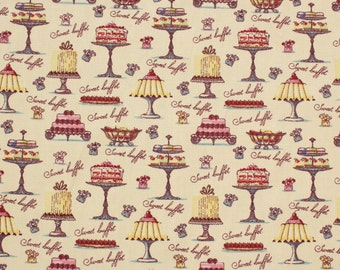 Vintage Style Cake Fabric - 100% Cotton Rose and Hubble - Quilting, sewing projects - UK Seller
