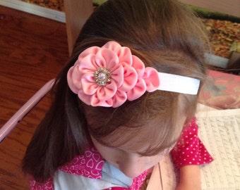 Headband ,Pink Kanzashi flower, Accessories