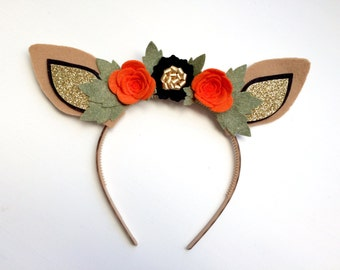Felt Deer Fawn Ear headband - hallow's eve orange, black with glitter gold and green leaves