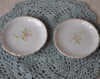 Vintage China Butter Pat Plates - Flower Design - 2 plates