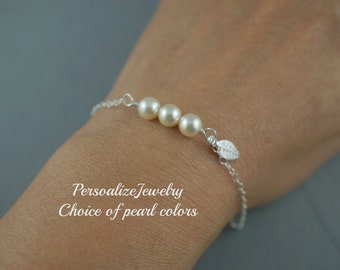 Sterling Silver Delicate Leaf Charm Bracelet Simple Jewelry Fall Wedding Bridesmaid Gift Pearl in Row Bracelet Bridal Party Gifts Champagne