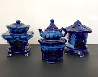 Cobalt Blue Glazed European Influenced Essential Oil Burners