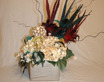 Flowers and Feathers Centerpiece