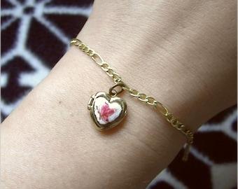 14k Gold Butterly Locket Bracelet 20cm - enamel pink shabby!