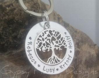 Family tree keyring  personalised keyring name keyring tree of life keyring personalized Keychain gift for mum gift for Nana women's gift