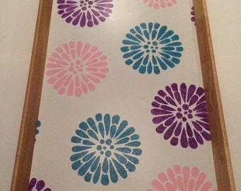 Hand painted - pink purple teal flower Serving Tray