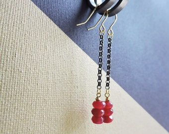 Ruby Gold & Gunmetal long drop earrings - Genuine ruby briolettes with gold accents and long black/gunmetal chain
