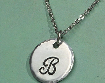 Hand Stamped Monogram Initial Necklace