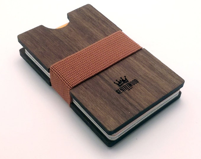 Walnut Handmade Wood Wallet - Slim wooden wallet - credit card wallet- slim - GenteelWood wallet - Minimalistic wallet - Valentines gift