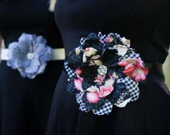 Gingham Flower Sash