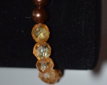 Brown and orange stretch bracelet