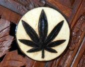 """2"""" Cannabis Magnet - Wood Burned Magnet, Pyrography Art, Wood Magnet, Pot Leaf Magnet"""