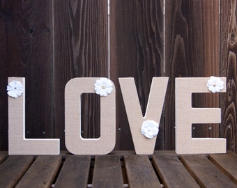 Love Sign, Love Letters, Photo Prop, Wedding, Bridal Shower, Engagement, Anniversary, Wooden Letters, Burlap Letters