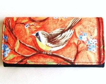 Orange Bird cotton fabric wallet, clutch, trifold