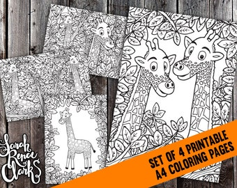 Printable Coloring Pages Set - 4x Detailed Giraffe Coloring Pages - A4 instant digital download, printable PDF pages to color, giraffe scene