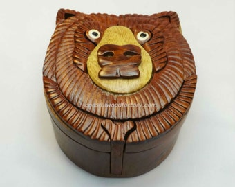Handmade Art Intarsia Wooden Jewelry Puzzle Box-Bear Head(267)