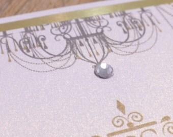 Glam Wedding Invitation, Two tone Invitation, Fancy Wedding Invitations, Fancy Invitations, chandeliers invitations, chandelier invitations